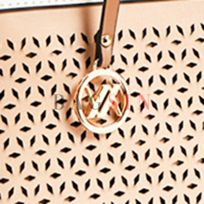 Τσάντα Ώμου Shopper Τρίχωρη Verde 16-5903 Διάτρητη Μπεζ-Λευκή