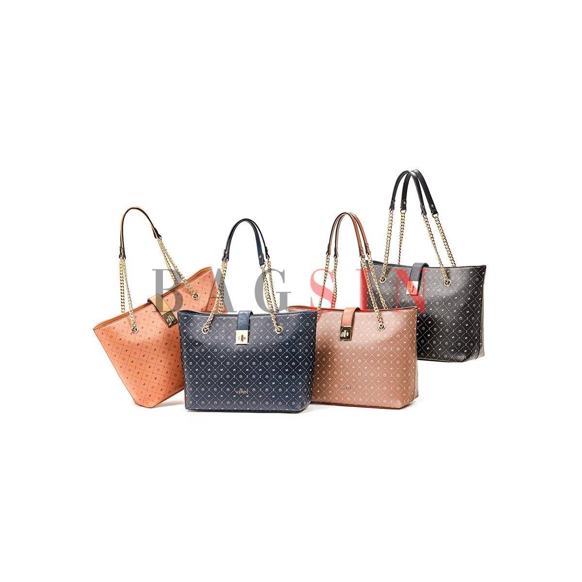Τσάντα Ώμου Shopper Τριθέσια Με Λογότυπο & Αλυσίδα Verde 16-6048