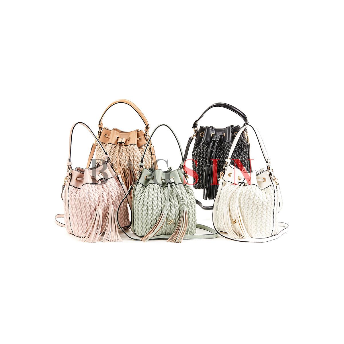 Τσάντα Ώμου – Πουγκί Καπιτονέ Με Κρόσσια Verde 16-5850