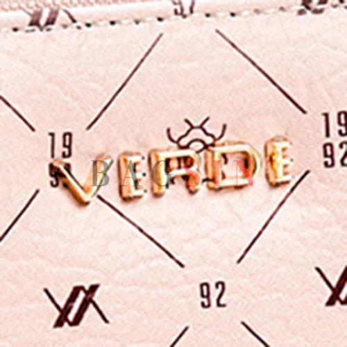 Πορτοφόλι Κασετίνα Δίχωρο Με Λογότυπο Verde 18-1145 Ροζ