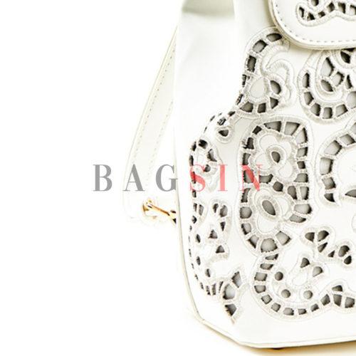 Σακίδιο Πλάτης Verde Backpack 16-5586 Διάτρητο Λευκό