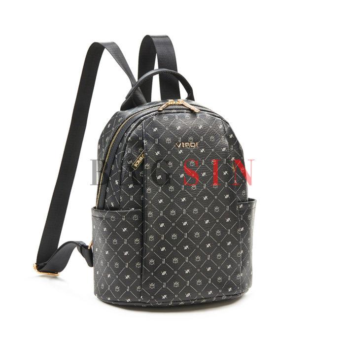 Σακίδιο Πλάτης Πολυθέσιο Με Λογότυπο Verde Backpack 16-6049 Μαύρο
