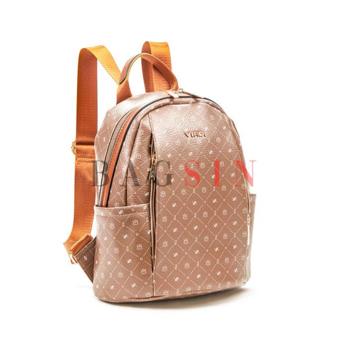 Σακίδιο Πλάτης Πολυθέσιο Με Λογότυπο Verde Backpack 16-6049 Taupe-Ταμπά