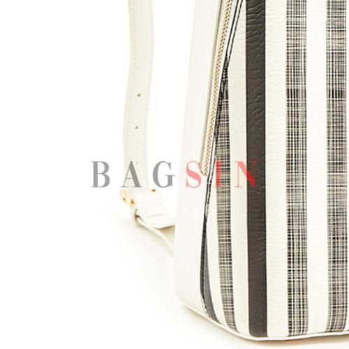 Σακίδιο Πλάτης Με Ρίγες Verde Backpack 16-5996 Λευκό-Μαύρο