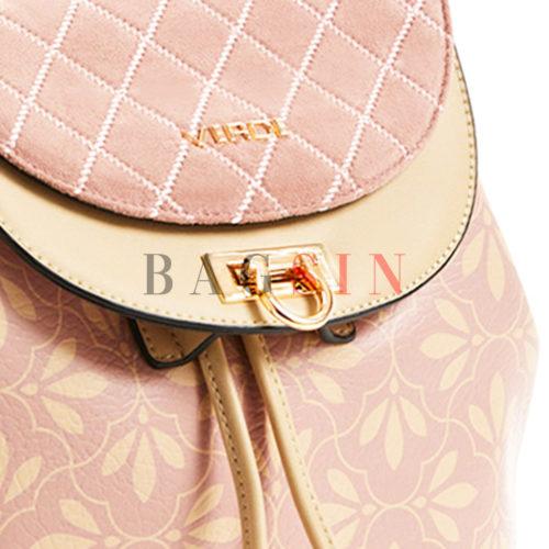 Σακίδιο Πλάτης - Πουγκί Με Floral Τύπωμα Verde Backpack 16-5848 Ροζ-Μπεζ