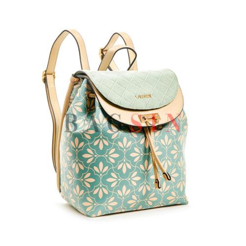 Σακίδιο Πλάτης - Πουγκί Με Floral Τύπωμα Verde Backpack 16-5848 Τιρκουάζ-Μπεζ