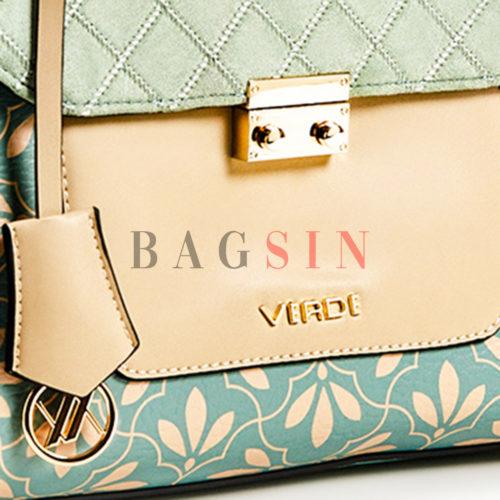 Τσάντα Χειρός-Tote Με Floral Τύπωμα Verde 16-5847 Τιρκουάζ-Μπεζ