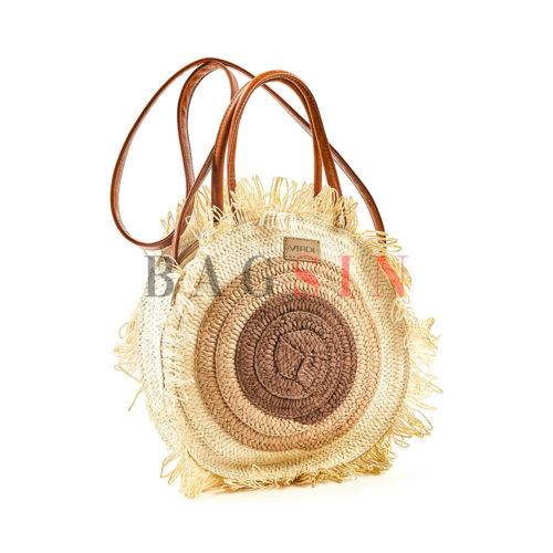 Τσάντα Ώμου-Χειρός Ψάθινη Στρογγυλή Με Κρόσσια Verde 48-60 Εκρού-Μπεζ-Ταμπά