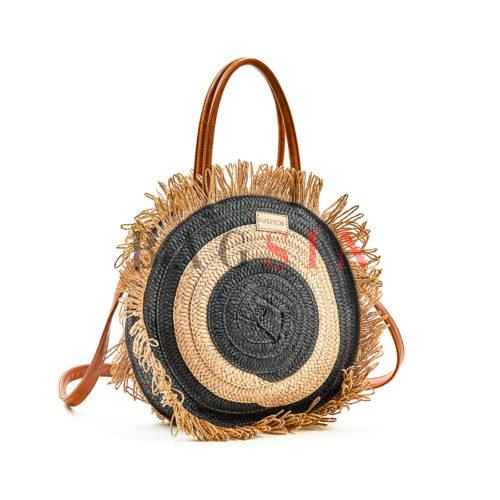 Τσάντα Ώμου-Χειρός Ψάθινη Στρογγυλή Με Κρόσσια Verde 48-60 Μπεζ-Μαύρη-Ταμπά