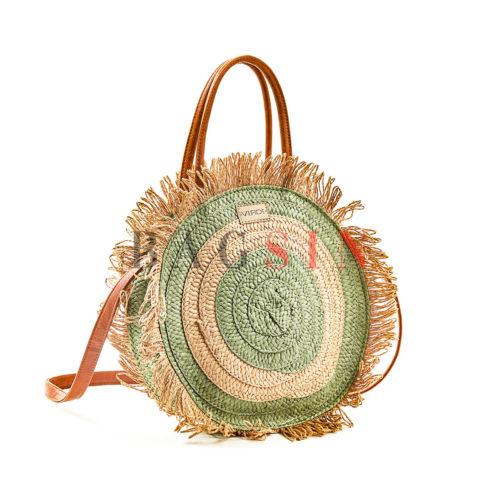 Τσάντα Ώμου-Χειρός Ψάθινη Στρογγυλή Με Κρόσσια Verde 48-60 Μπεζ-Φιστικί-Ταμπά
