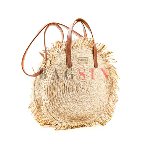 Τσάντα Ώμου-Χειρός Ψάθινη Στρογγυλή Με Κρόσσια Verde 48-61 Μπεζ-Ταμπά