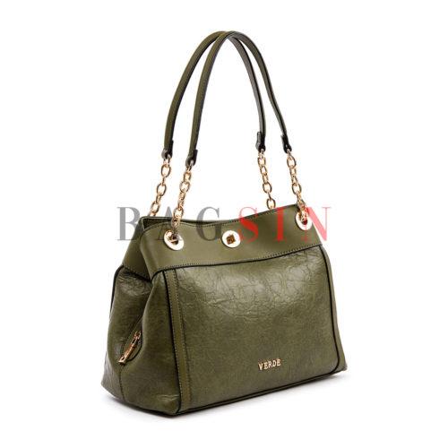 Τσάντα Ώμου Shopper Τρίχωρη Με Αλυσίδα Verde 16-4841 Λαδί