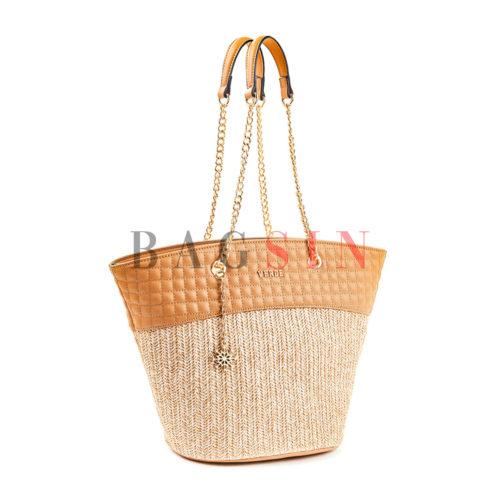 Τσάντα Ώμου Shopper Ψάθινη Με Αλυσίδα Verde 16-5518 Μπεζ-Κάμελ
