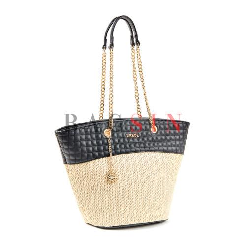 Τσάντα Ώμου Shopper Ψάθινη Με Αλυσίδα Verde 16-5518 Εκρού-Μαύρη