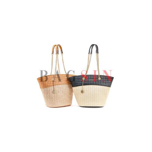 Τσάντα Ώμου Shopper Ψάθινη Με Αλυσίδα Verde 16-5518