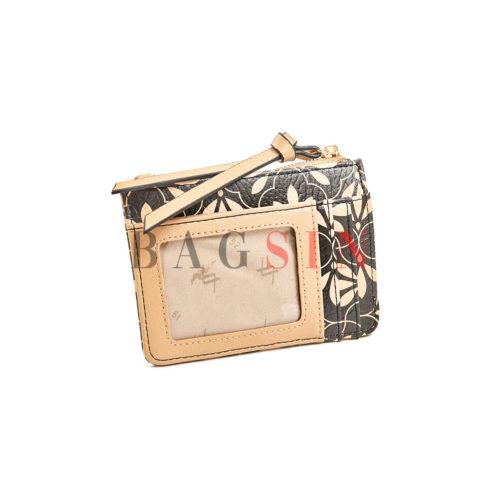 Πορτοφόλι Κερμάτων – Καρτοθήκη Με Floral Τύπωμα Verde 18-1143 Μαύρο-Μπεζ