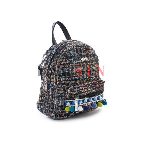 Σακίδιο Πλάτης – Τσάντα Χιαστί Με Pom Pom Verde Mini Backpack 16-5222 Μαύρο