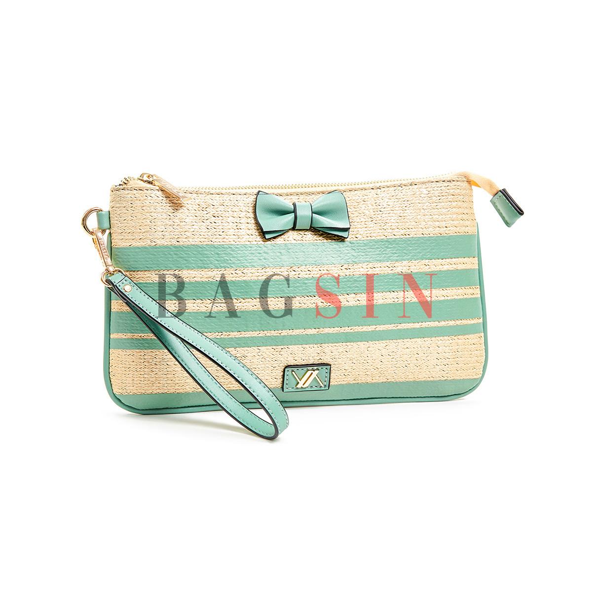Τσάντα Χειρός – Φάκελος Ψάθινη Με Φιόγκο & Λαβή Verde 16-5969 Μπεζ-Τιρκουάζ