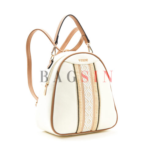 Σακίδιο Πλάτης – Τσάντα Χιαστί Με Πλεκτό Σχέδιο Verde Backpack 16-5563 Λευκό-Taupe