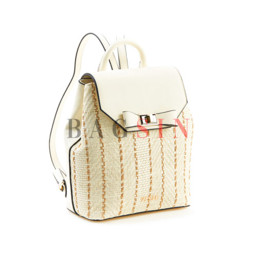 Σακίδιο Πλάτης Ψάθινο Verde Backpack 16-5504 Λευκό-Εκρού
