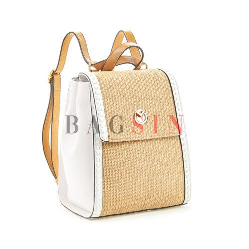Σακίδιο Πλάτης Ψάθινο – Τσάντα Χιαστί Verde Backpack 16-5502 Λευκό-Μπεζ