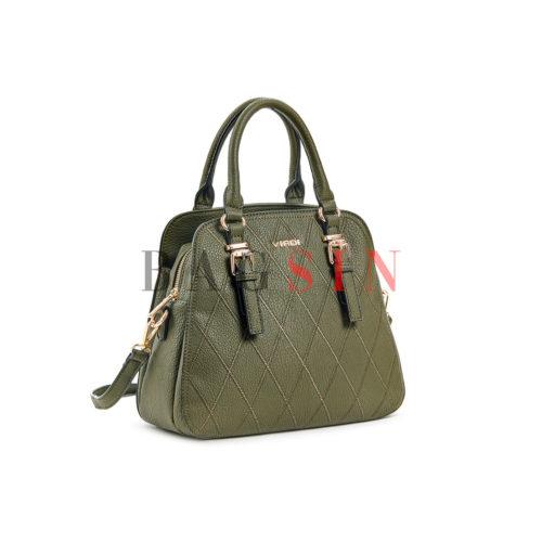 Τσάντα Χειρός-Tote Τρίχωρη Verde 16-5777 Λαδί