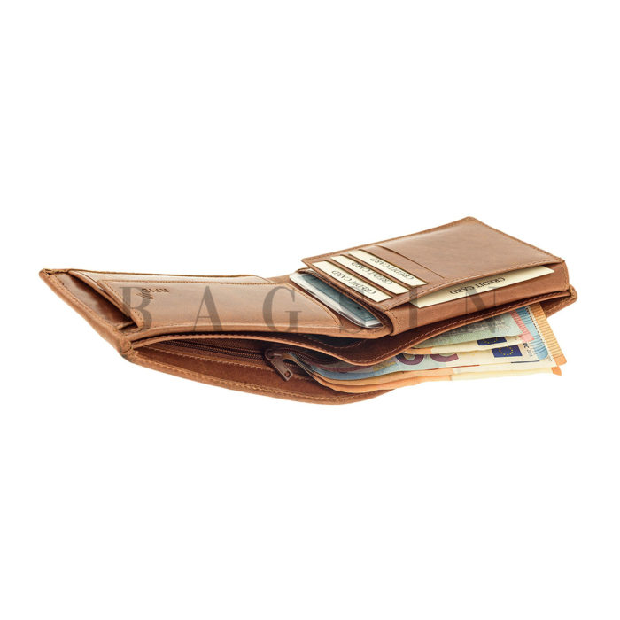 Δερμάτινο Πορτοφόλι Μεγάλο Με Φερμουάρ Χαρτονομισμάτων Lavor 7106 RFID Ταμπά