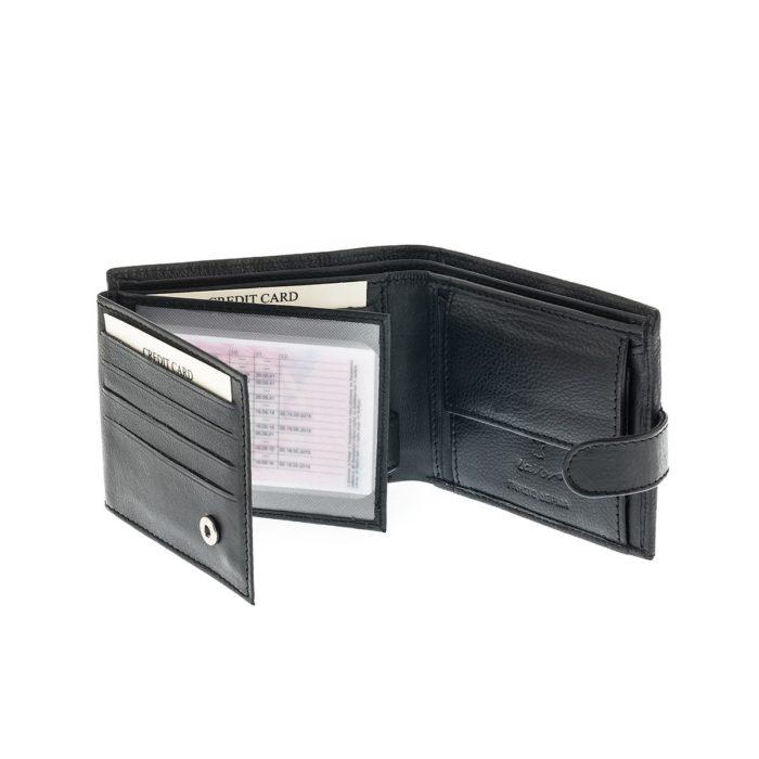 Lavor 7128 Μαύρο Πορτοφόλι Rfid Μικρό Δερμάτινο με θήκες για Κάρτες