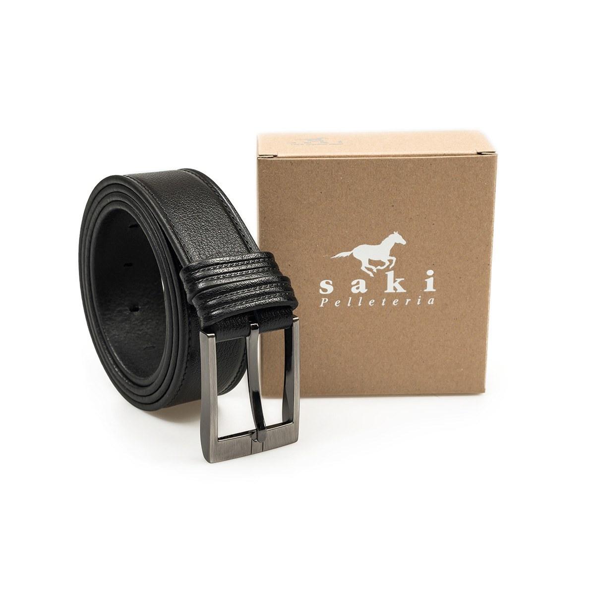 47f1a27a1e80 Ζώνη Δερμάτινη Χειροποίητη Saki 4209 Μαύρη